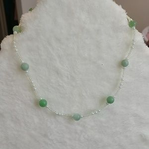 Jade and glass bead toggle necklace
